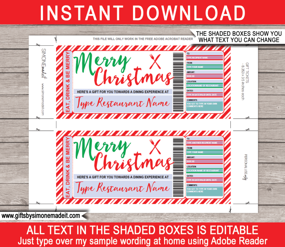 Editable Christmas Dining Gift Certificate Printable Template - Last Minute Restaurant Gift Voucher - Dinner or Night Out Experience - Christmas Gift Present - DIY Editable Template - INSTANT DOWNLOAD via www.giftsbysimonemadeit.com