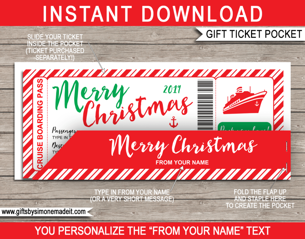 Christmas Cruise Gift Ticket with Pocket Sleeve Gift Holder - Printable & Editable Template - Last Minute Christmas Present Idea - INSTANT DOWNLOAD - via giftsbysimonemadeit.com