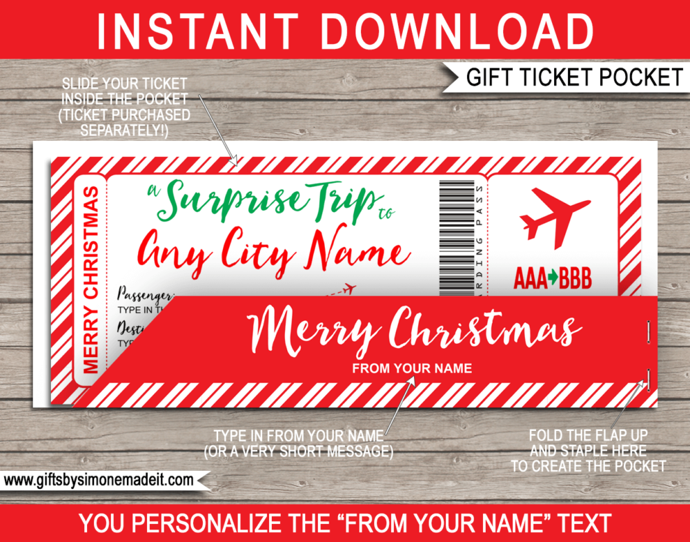 Christmas Surprise Trip Gift Ticket with Pocket Sleeve Gift Holder - Printable & Editable Template - Last Minute Christmas Present Idea - INSTANT DOWNLOAD - via giftsbysimonemadeit.com