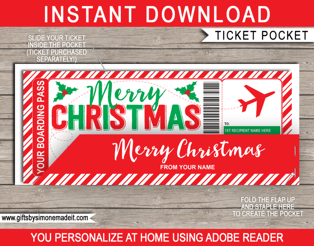 Printable Christmas Plane Boarding Pass Gift Ticket Template with editable text