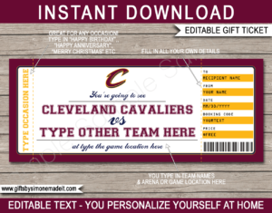 Cleveland Cavaliers Game Ticket Gift Voucher Template | Printable Surprise NBA Basketball Personalized Tickets | Editable Text | Gift Certificate | Last Minute Birthday, Christmas, Anniversary, Retirement, Graduation, Mother's Day, Father's Day, Congratulations, Valentine's Day Present | INSTANT DOWNLOAD via giftsbysimonemadeit.com
