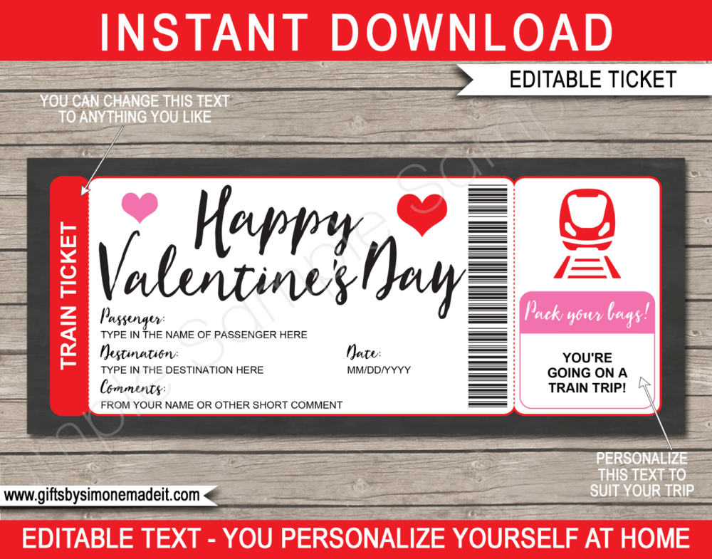 Valentine's Day Train Ticket Gift Voucher Template | Surprise Train Trip Reveal | DIY Editable & Printable Template | Last minute gift | Fake Faux Pretend Railway Boarding Pass | INSTANT DOWNLOAD via giftsbysimonemadeit.com