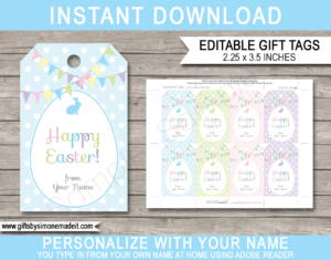 Printable Easter Gift Tags Template | Personalized Last Minute Easter Treat Tags | Last Minute Easter Basket Gifts | DIY Editable Template | INSTANT DOWNLOAD via giftsbysimonemadeit.com