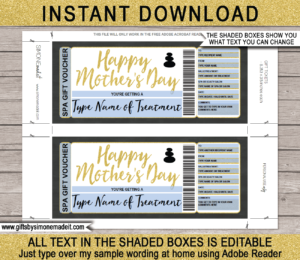 Editable & Printable Mother's Day Spa Gift Certificate Template | Print at Home Last Minute Gift for Mom | DIY | Massage, Manicure, Pedicure, Body Scrub, Hot Stone | Instant Download via giftsbysimonemadeit.com