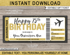 75th Birthday Boarding Pass Template | Printable Fake Plane Ticket | Surprise Trip Reveal Gift Idea | DIY Editable Text | INSTANT DOWNLOAD via giftsbysimonemadeit.com