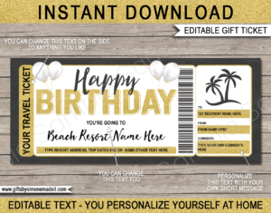Birthday Tropical Vacation Ticket Template | Surprise Holiday Trip Reveal Gift Idea | DIY Printable with Editable Text | INSTANT DOWNLOAD via giftsbysimonemadeit.com
